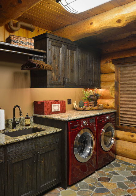 Blanco Silgranit Laundry Room Rustic with Balcony Brown Venetian Shade