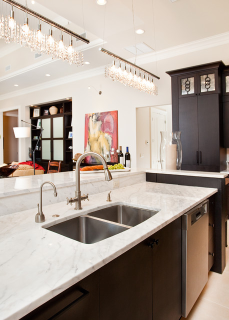 Blanco Sink Kitchen Contemporary with Calacatta Gold Marble Ceiling