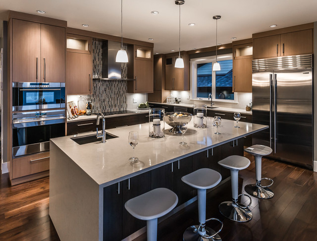 Blanco Sinks Kitchen Contemporary with Counter Stools Dark Wood