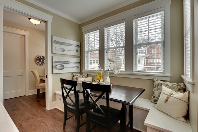 Bleeker Beige Dining Room Traditional with Banquette Seating Baseboard Crown1