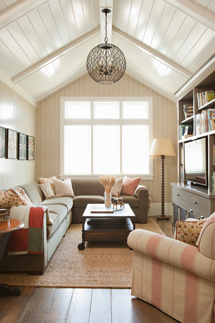 Bleeker Beige Family Room Beach with Beamed Ceiling Ground Up