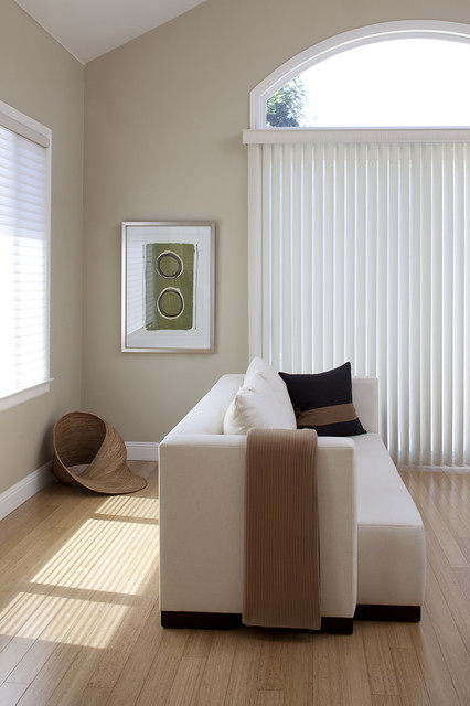 Bleeker Beige Family Room Contemporary with Bamboo Floors Baseboards Beige1
