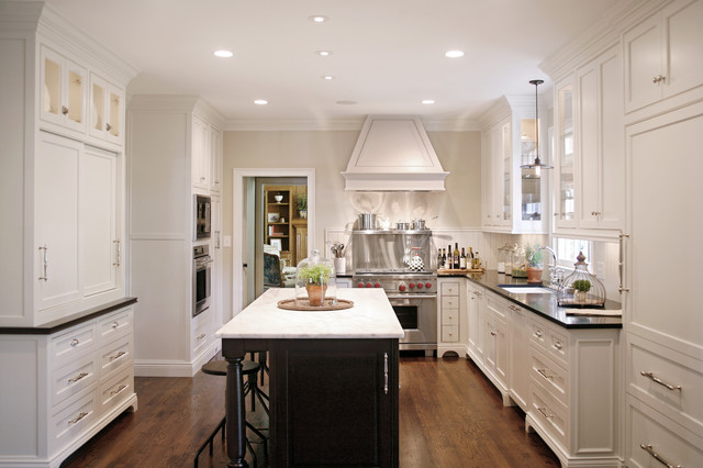 Bleeker Beige Kitchen Traditional with Counter Stools Kitchen Island