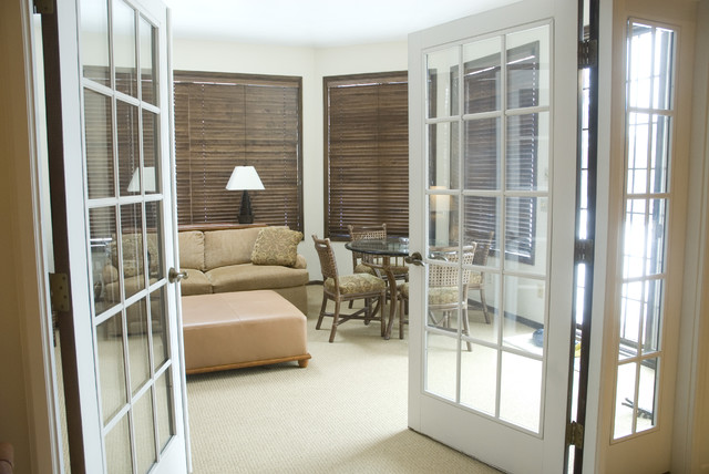 Blinds for French Doors Family Room Eclectic with French Doors Glass Doors