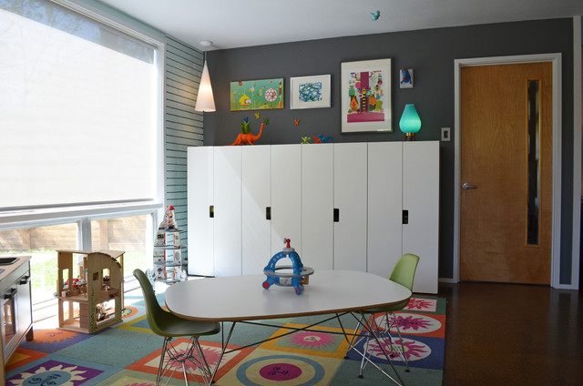 Blinds Galore Kids Midcentury with Area Chairs Colorful Carpet