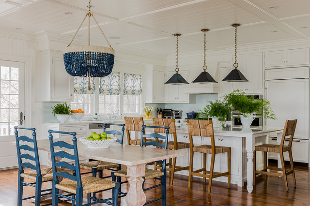 Blinds Galore Kitchen Beach with Black Pendant Light Blue