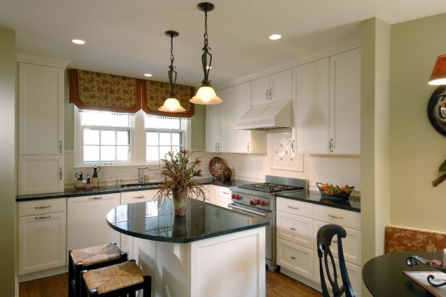Blinds Galore Kitchen Traditional with Bench Seat Black Counters