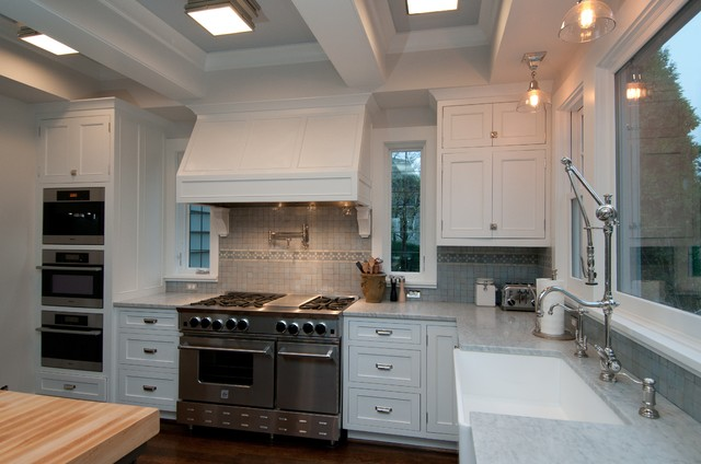 Bluestar Range Kitchen Traditional with Accent Tiles Coffered Ceiling
