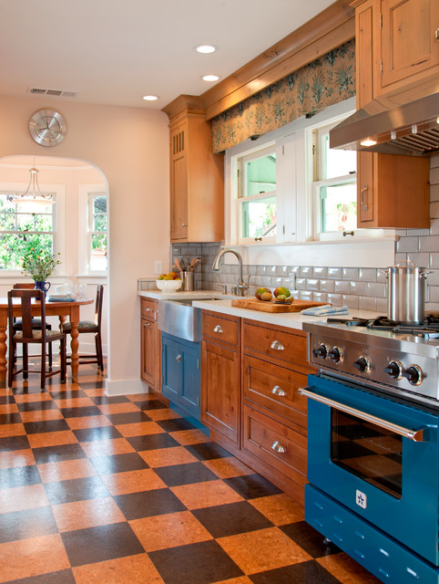 Bluestar Range Kitchen Traditional with Beveled Subway Tiles Bin