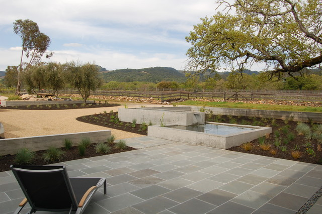 Bluestone Pavers Landscape Modern with Chaise Lounge Driveway Entry