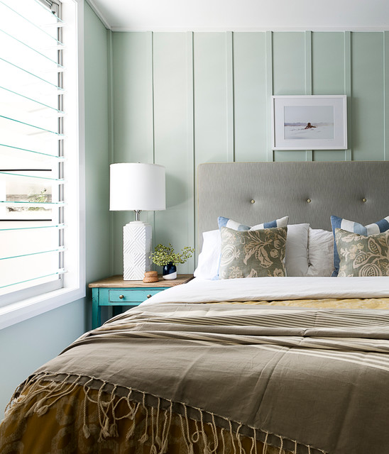 Board and Batten Shutters Bedroom Beach with Aquabumps Art Beach Chic