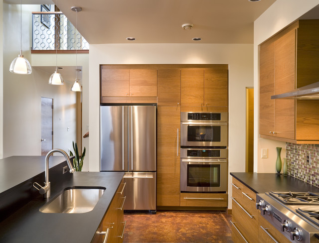 Bob Wallace Appliance Kitchen Contemporary with Acid Stain Floor Ceiling