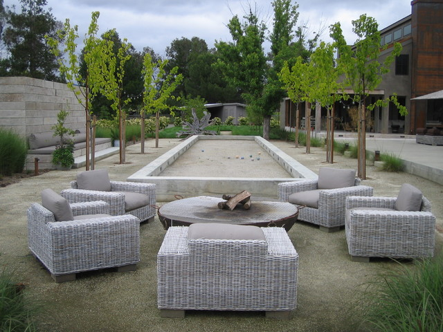 Bocce Ball Court Landscape Farmhouse with Bocce Concrete Decomposed Granite
