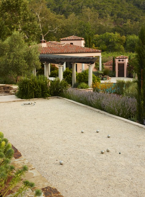 Bocce Ball Court Landscape Mediterranean with Bocce Ball California Column