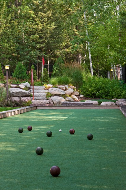bocce ball court Landscape Traditional with artificial turf bocce boulders
