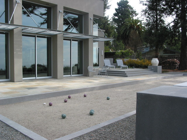 Bocce Court Landscape Contemporary with Awning Backyard Bocce Chaise