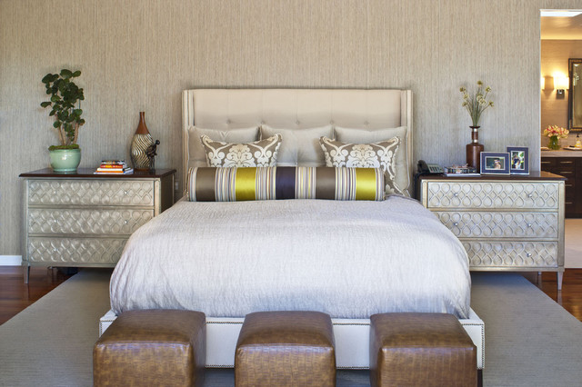 bolster pillows Bedroom Contemporary with area rug baseboards bed