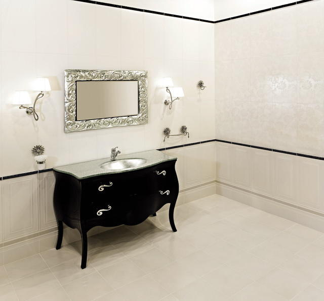 Bombay Chest Bathroom Eclectic with Black and White Black
