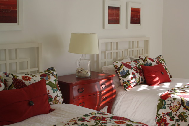 bombay chest Bedroom Tropical with bed pillows bedside table