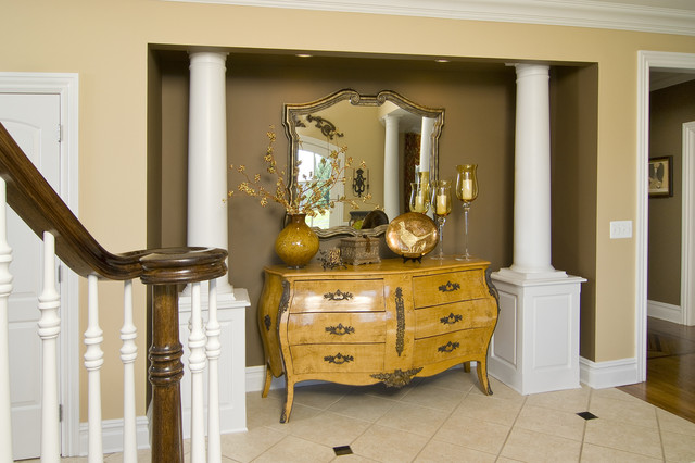 Bombay Chest Entry Traditional with Accent Wall Banister Baseboards2