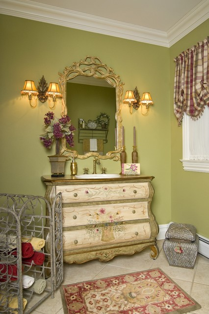 Bombe Chest Powder Room Traditional with Accessories Area Rug Balloon1