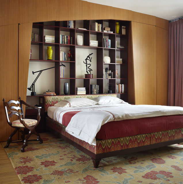 Bookcase Headboard Bedroom Contemporary with Area Rug Arm Chair