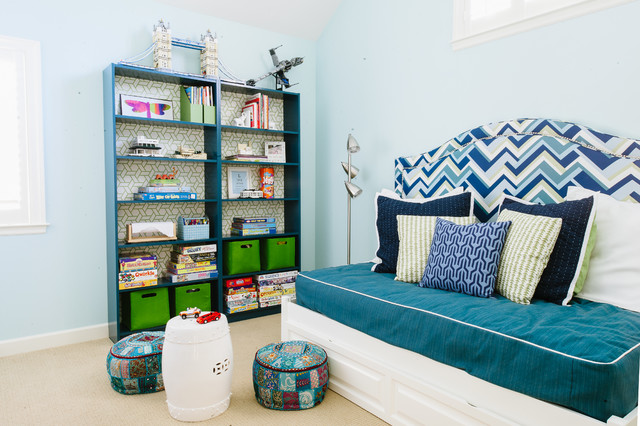 Bookcase Headboard Kids Contemporary with Analogous Color Scheme Architectural