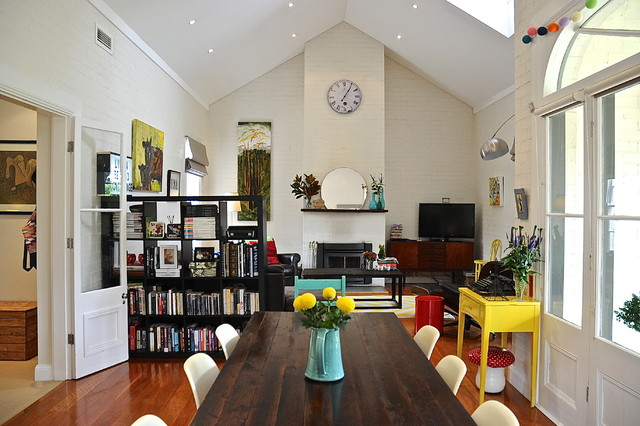 Bookcase Room Dividers Dining Room Eclectic with My Houzz