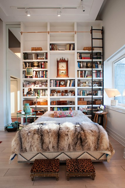 Bookshelf Headboard Bedroom Eclectic with Animal Print Antique Clocks