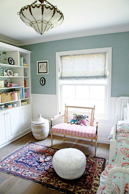 Bookshelf Room Divider Kids Transitional with Antique Rug Area Rug