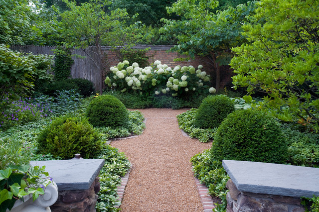 Boxwood Shrubs Landscape Traditional with Brick Trim Brick Wall