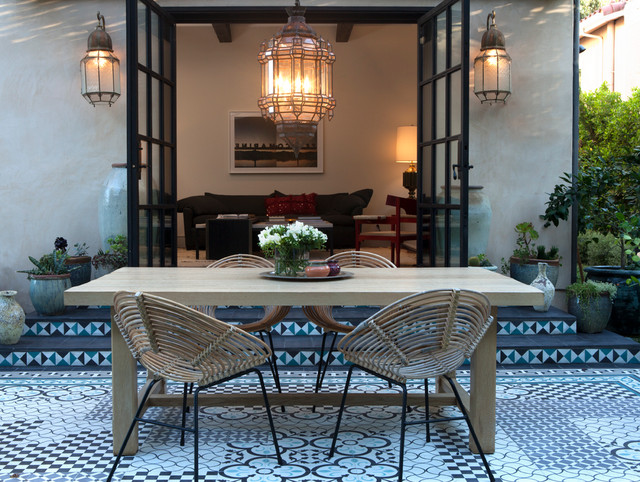 Breakfast Nook Bench Patio Mediterranean with French Doors Moroccan Theme