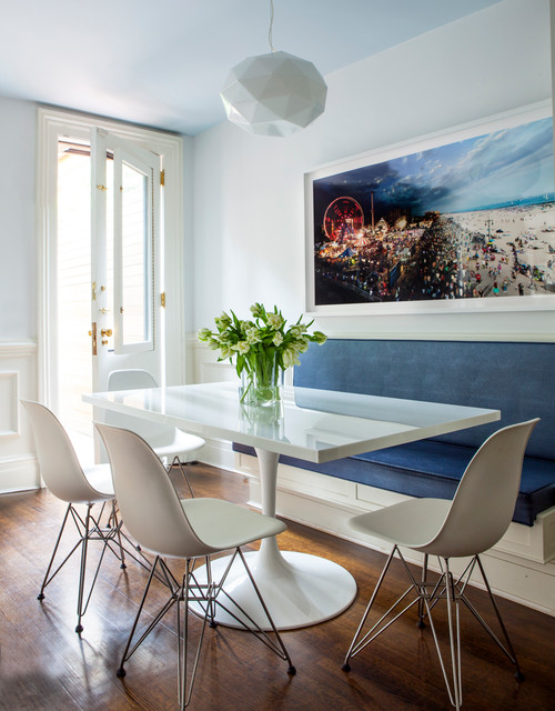 breakfast nook furniture Dining Room Contemporary with blue cushions built in