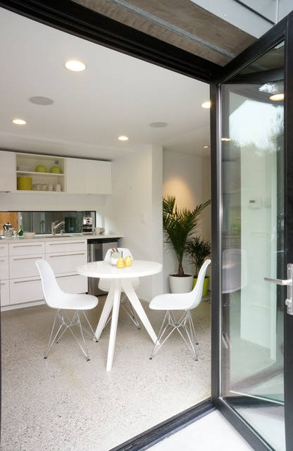 Breakfast Nook Furniture Kitchen Modern with Cabinets Chairs Concrete Floors