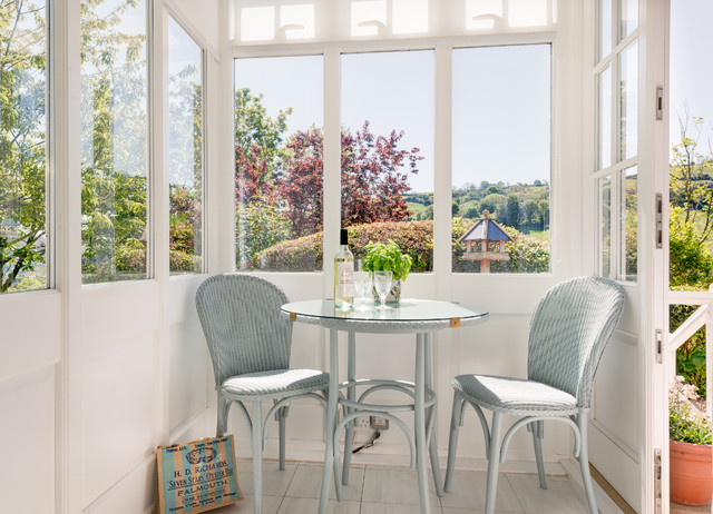 Breakfast Nook Furniture Sunroom Traditional with Beautiful Views Bistro Table