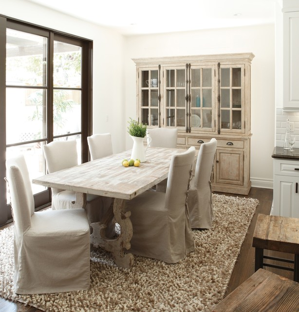 Breakfront Dining Room Traditional with Antiqued White Area Rug