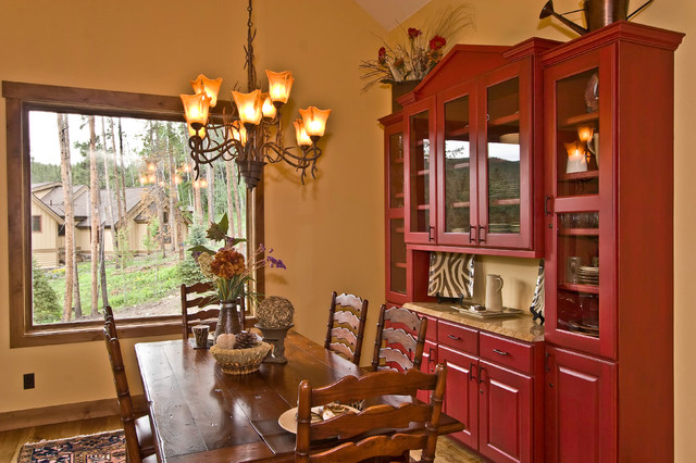 Breakfront Dining Room Traditional with Cabinet Chandelier Dining Chairs