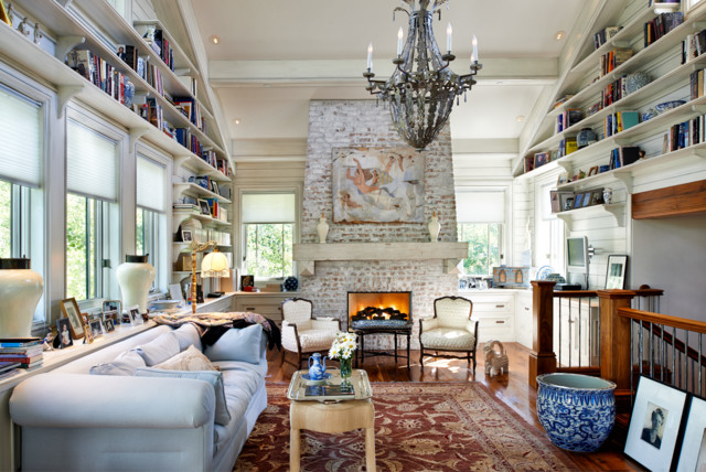 Brick Fireplace Makeover Living Room Rustic with Antiques Beadboard Walls Blue