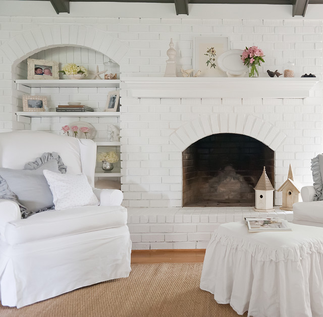 Brick Fireplace Makeover Living Room Shabby Chic with Belgian Birdhouse Brick Fireplace