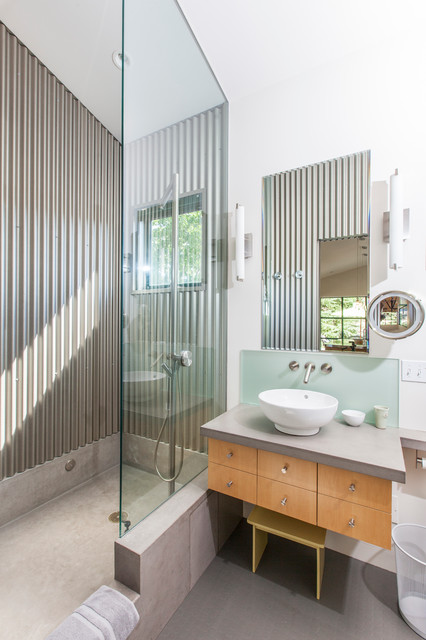 Bridger Steel Bathroom Contemporary with Bowl Sink Concrete Floor