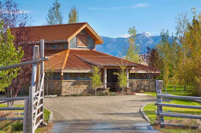 Bridger Steel Exterior Farmhouse with Aspen Tree Copper Roof