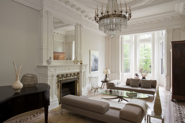 Brownstone Furniture Living Room Transitional with Bay Window Brooklyn Brownstone