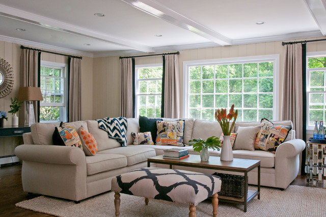 Broyhill Sofa Family Room Beach with Beige and Navy Ottoman