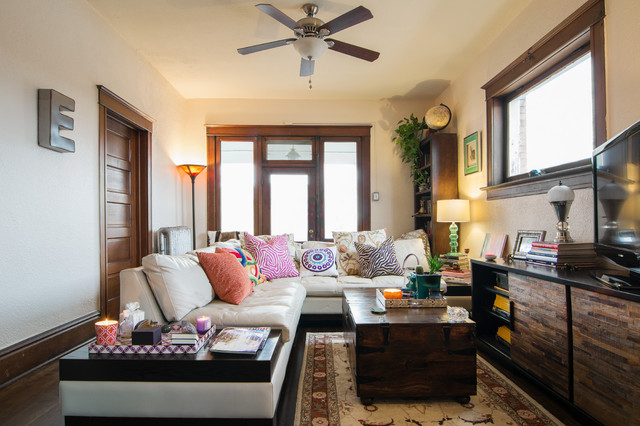 broyhill sofa Family Room Eclectic with area rug ceiling fan
