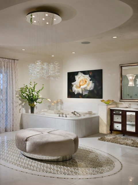 Bubble Chandelier Bathroom Contemporary with Beige Ottoman Beige Shag