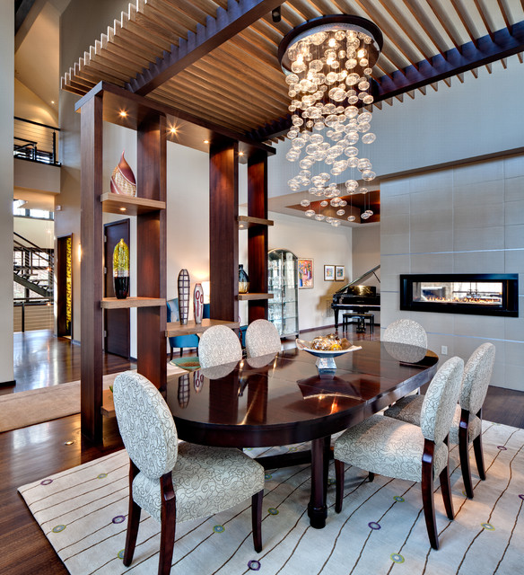Bubble Chandelier Dining Room Contemporary with Area Rug Bubble Chandelier