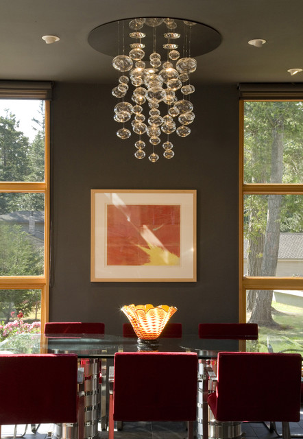 Bubble Chandelier Dining Room Eclectic with Art Ceiling and Wall