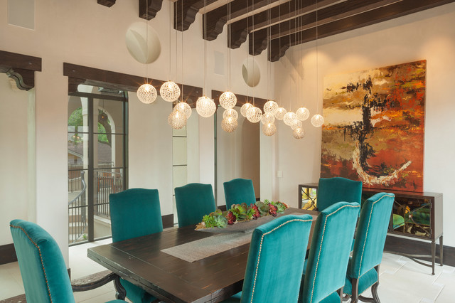 Bubble Chandelier Dining Room Mediterranean with Beamed Ceiling Chandelier Dark