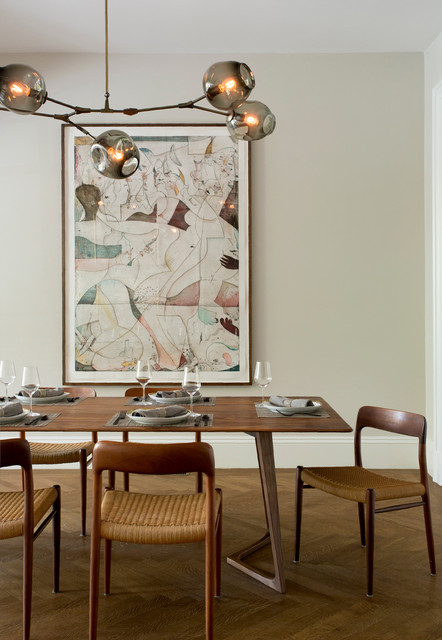 Bubble Chandelier Dining Room Transitional with Bubble Chandelier Chandelier Herringbone