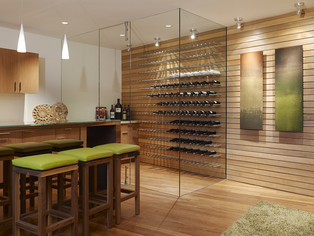 Bulk Wine Glasses Wine Cellar Contemporary with Glass Walls Pendant Light